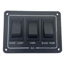 3 Way Switch Panel - Headlamp / Horn / Bilge - (surface mount)